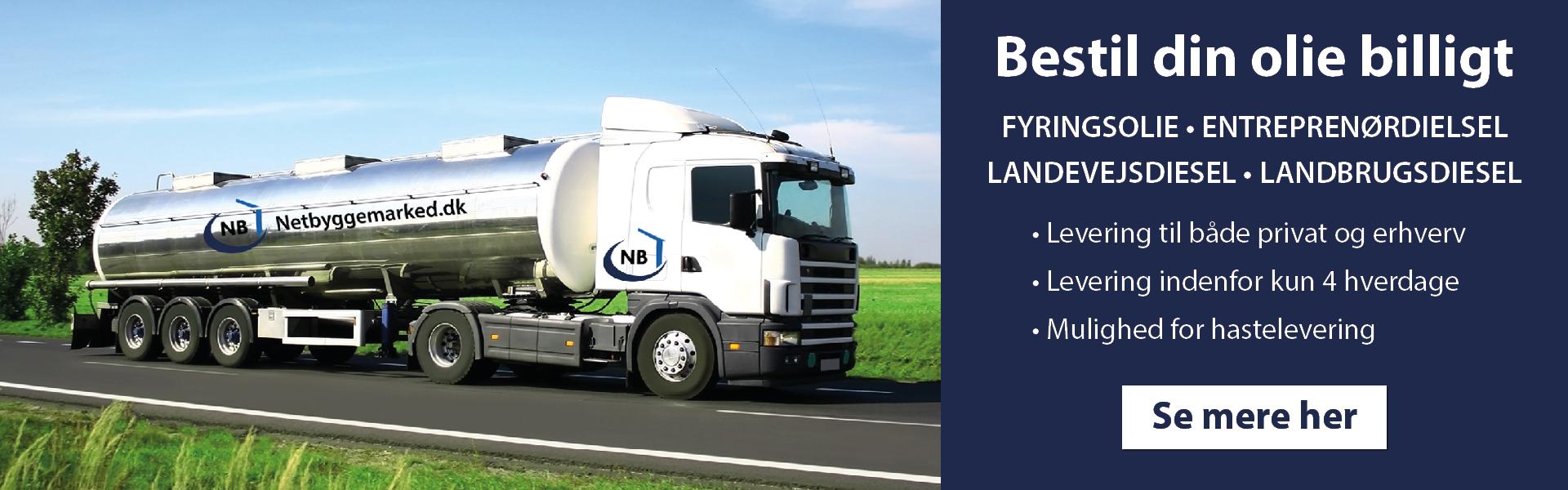 Bestil billig fyringsolie, landbrugsdiesel, transportdiesel og entreprenørdiesel hos Netbyggemarked.dk